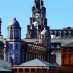 The Skyline of Liverpool in the area of the Pierhead showing the famous Liverbirds