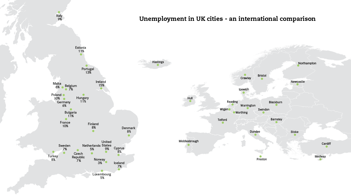 Map Of Uk Unemployment.Unemployment In Uk Cities An International Comparison Centre For