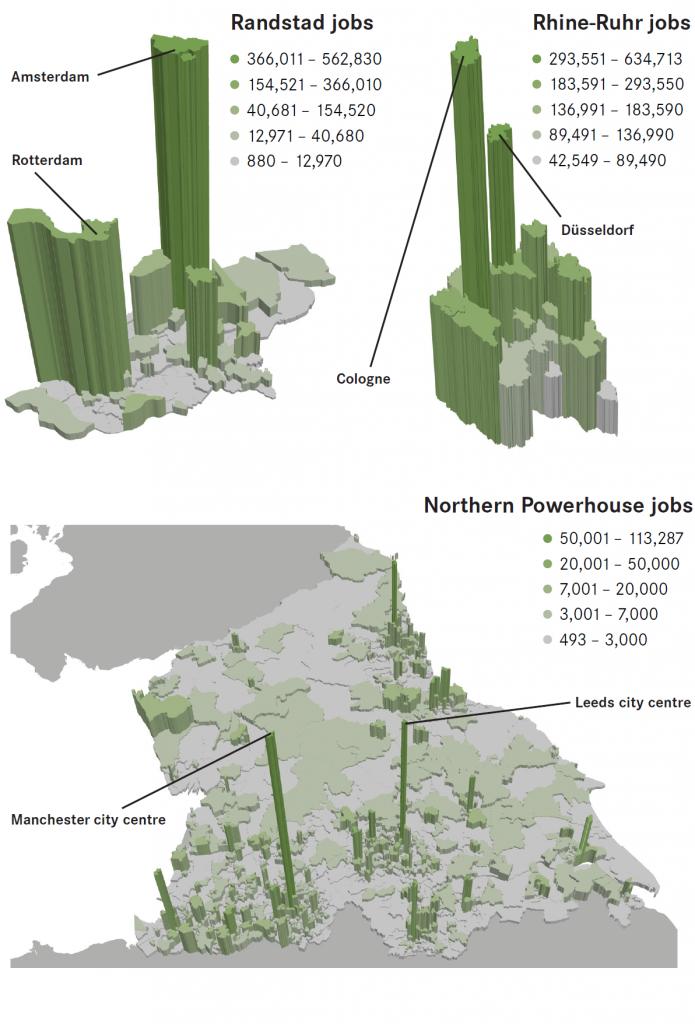 Geography of Jobs Northern Powerhouse Randstad Rhine Ruhr