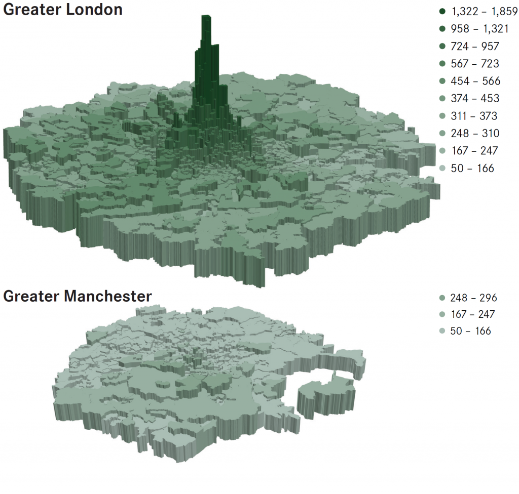 Median house prices per square foot in and around London and Manchester, 2015