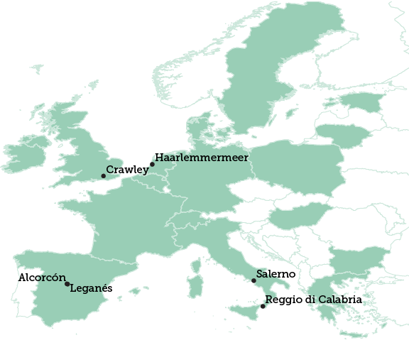Map Of Italy And Spain With Cities.Crawley Centre For Cities