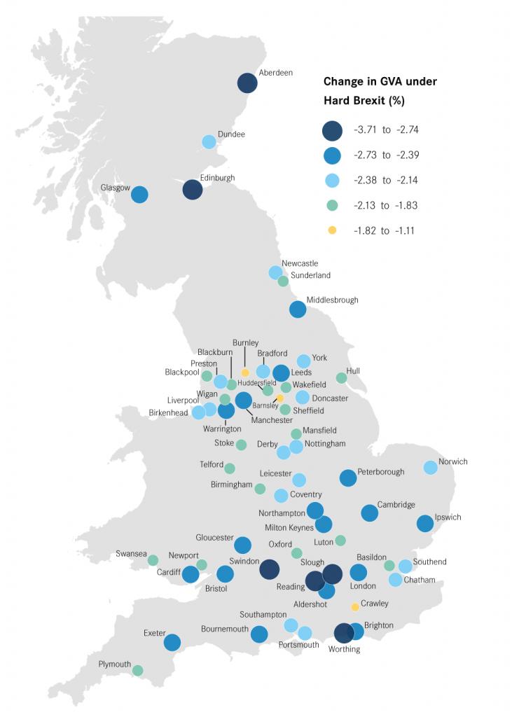 Hard Brexit GVA shocks by City