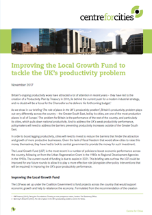 Improving the Local Growth Fund to tackle the UK's productivity problem